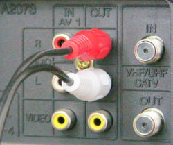 Picture of VCR audio output plugs